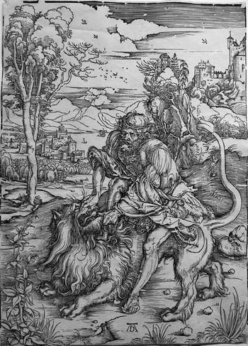 Durer A;  Sansone uccide il leone - 350