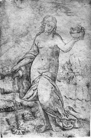 Da Brescia Giovanni Antonio; Donna che versa acqua su una pianta - 350