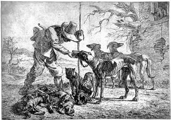 Van Laer P; Cacciatore con sette cani - 350