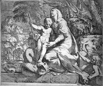 Testa GC; Maria col Bambino che schiaccia un drago - 350
