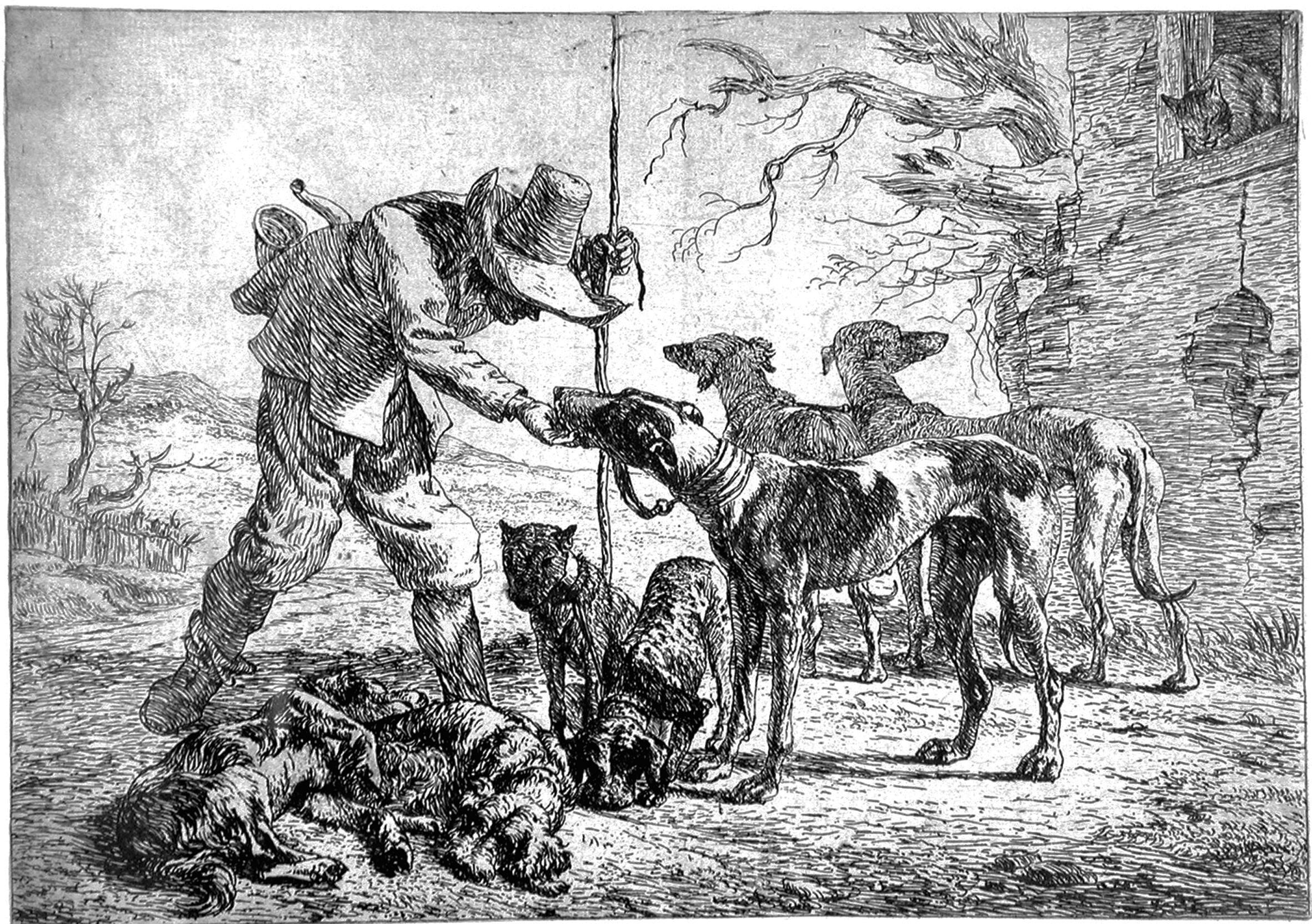 Van Laer P; Cacciatore con sette cani