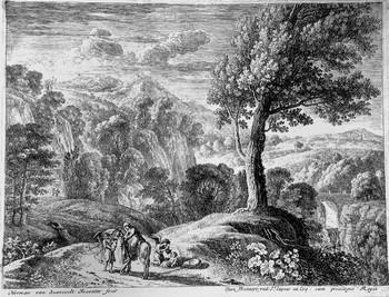 Van Swanevelt H; Il grande albero e la cascata - 350