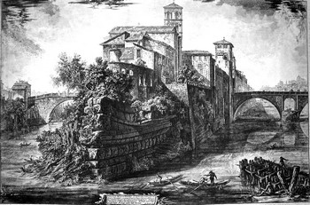 Piranesi GB; Veduta dell'isola Tiberina - 350